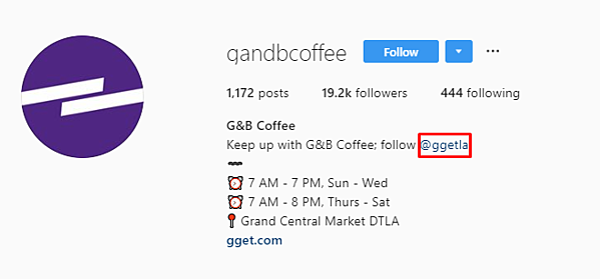 G and B coffee IG bio