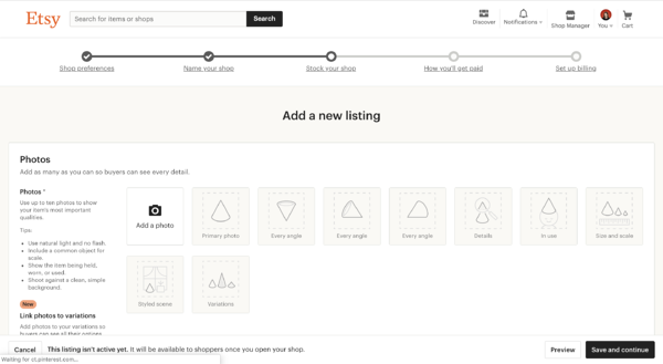 How to add a listing on Etsy