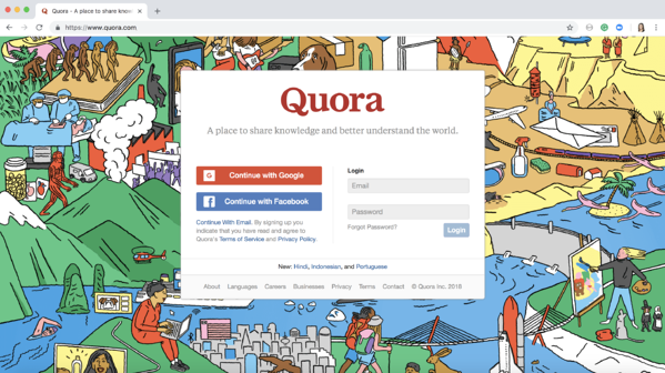 How to delete Quora account step 1 log in