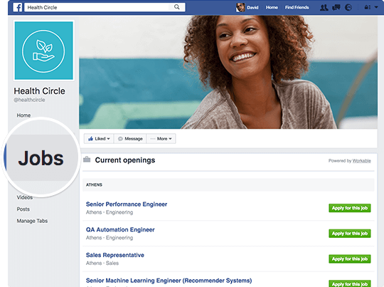 job listing on facebook page