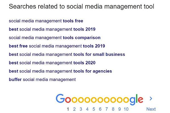 searches on google for social media management tools
