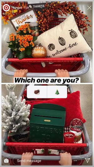 Holiday Instagram story poll from Target