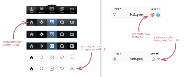 Instgram navigation redesigned for better ux design