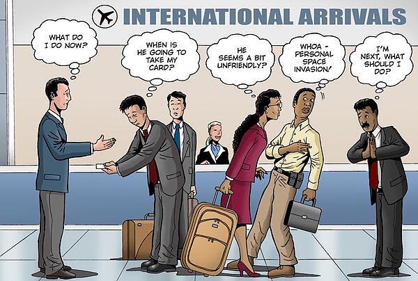 an example of cross-cultural communication at an airport