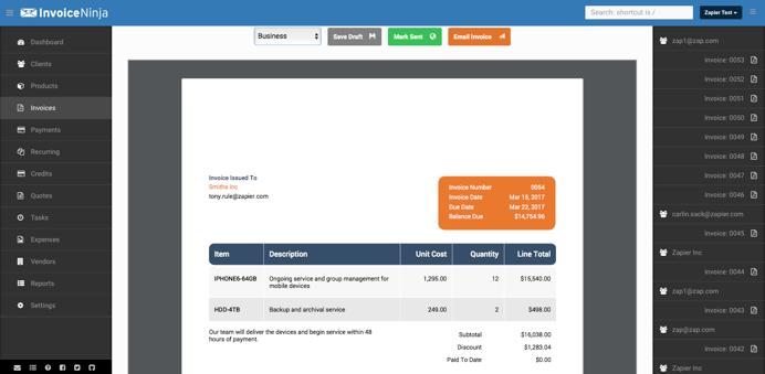 Invoice Ninja invoice template