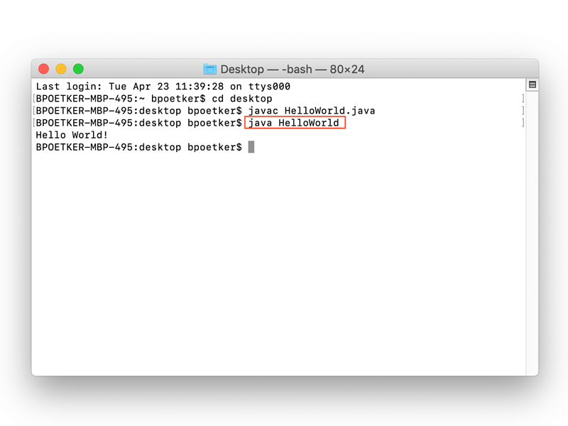Java Hello World output example