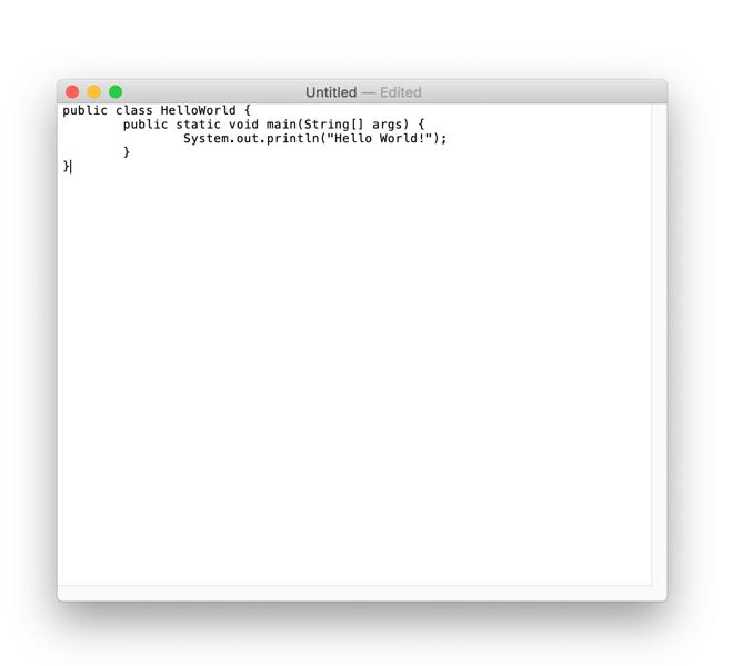 Java Hello World in TextEdit