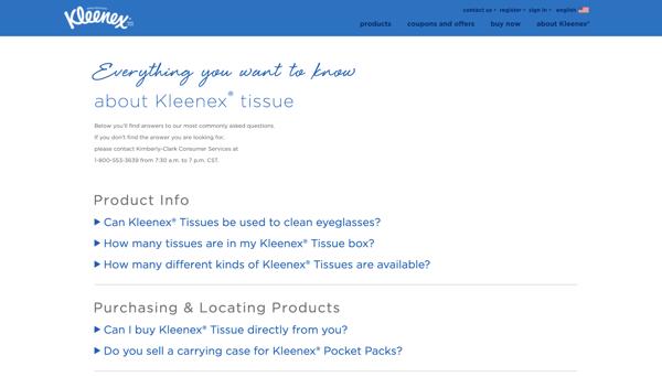 Kleenex FAQ page