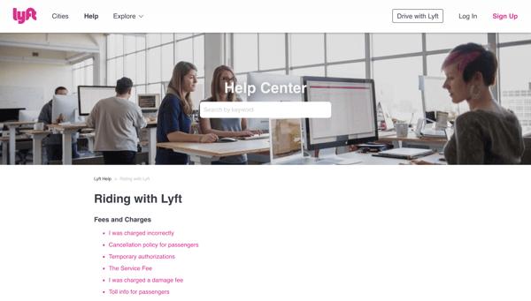 Lyft FAQ page