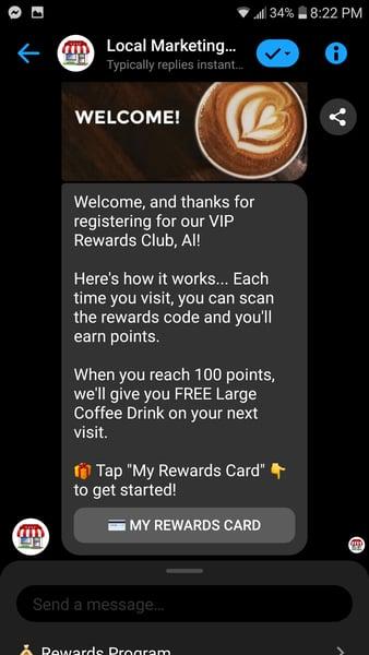 coffee rewards card