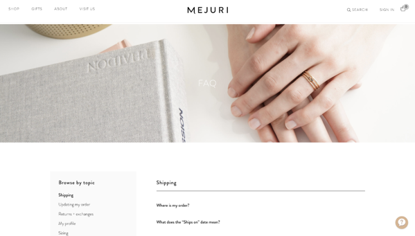 Mejuri FAQ page