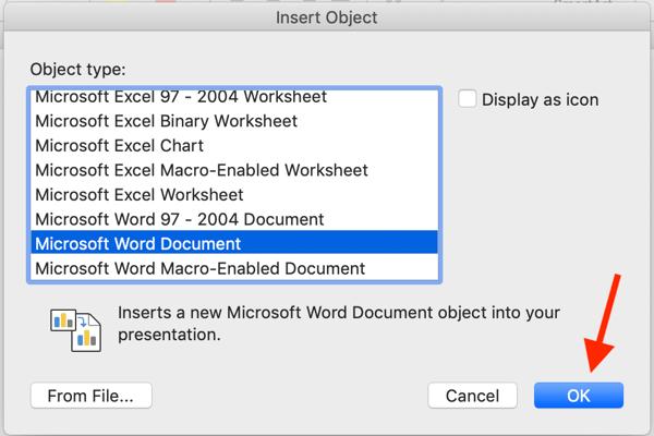 insert object in microsoft word