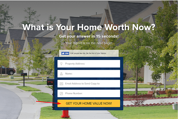 home worth landing page