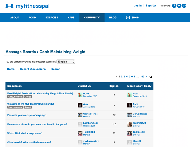 My FitnessPal app online community