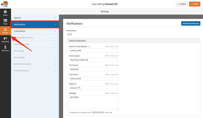 Setup notifications for WordPress contact form