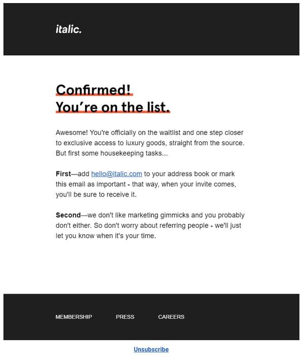 italic waitlist email
