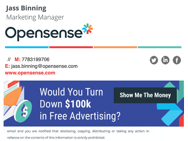 opensense email signature banner 100k free advertising