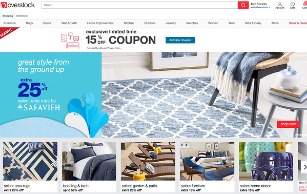 Overstock's online marketplace has low fees on inexpensive items.