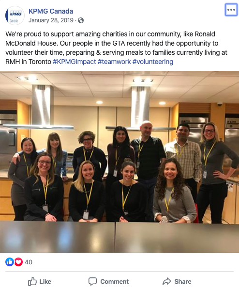 kpmg canada facebook post volunteers