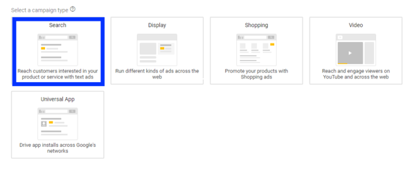 google adwords campaign types
