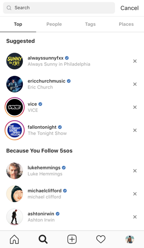 instagram search suggestions