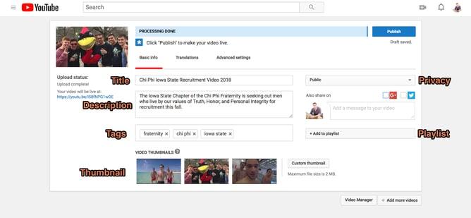 YouTube description page