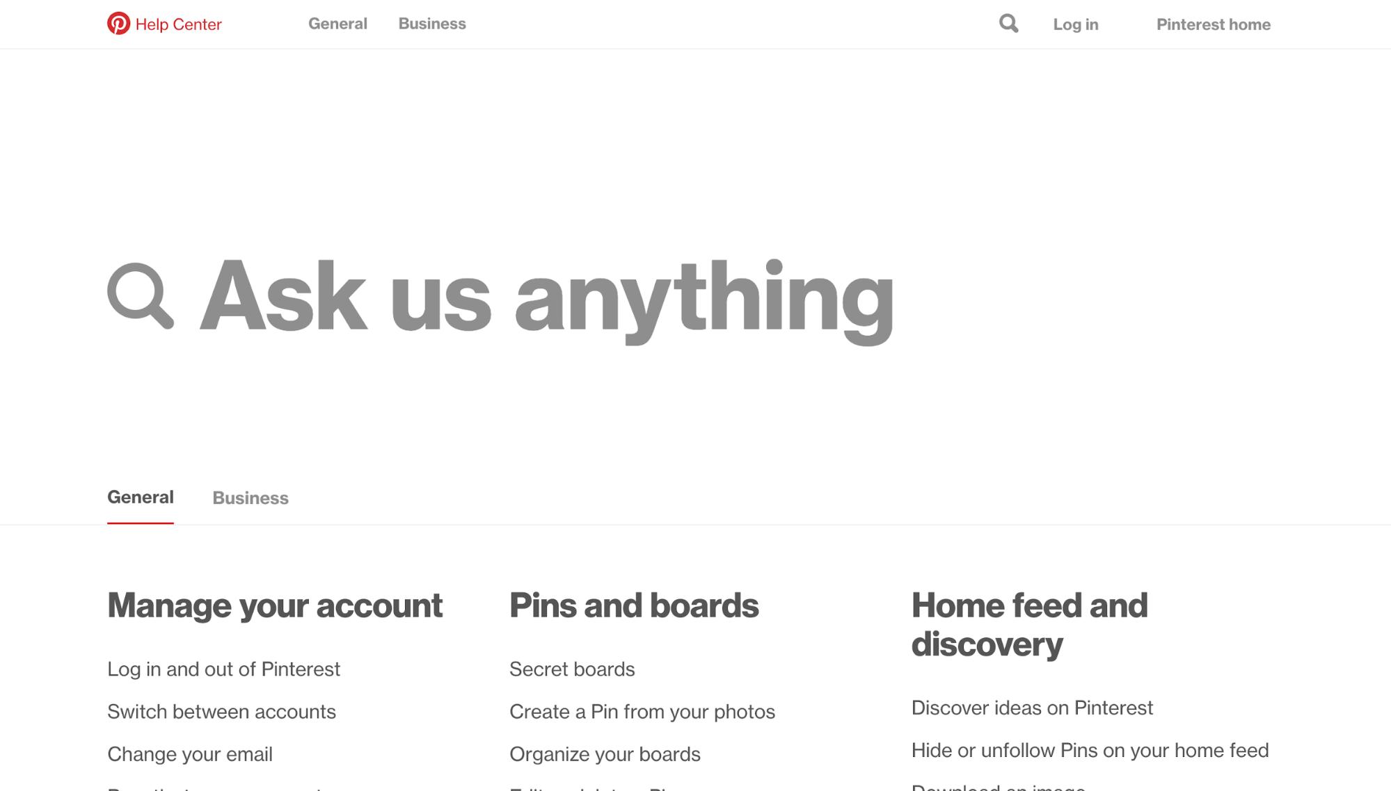 Pinterest FAQ page
