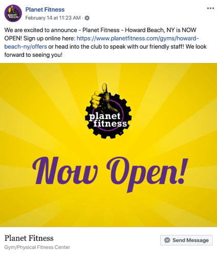 screenshot of a bright yellow Planet Fitness ad that's promoting their new location opening in howard beach, new york