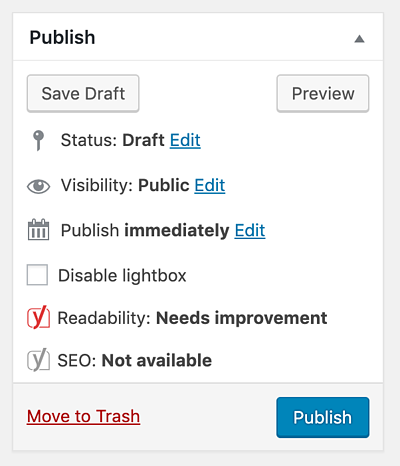 Publish Settings in WordPress