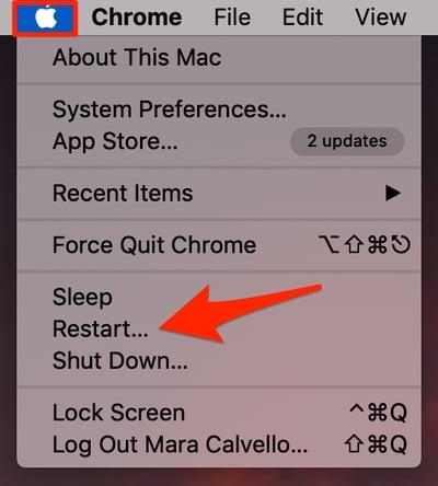 Restart Mac from Apple Menu