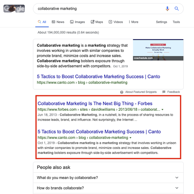 Google Results for Collaborative Marketing
