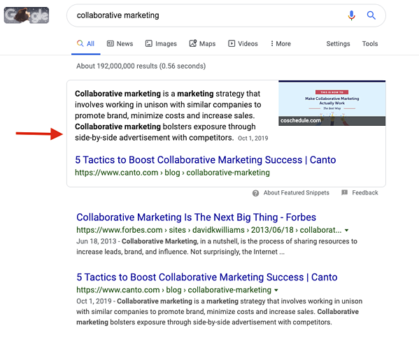Featured Snippet for Collaborative Marketing
