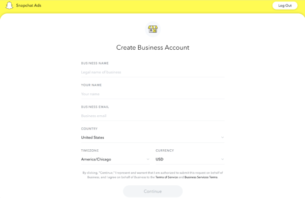 Create a Snapchat business account
