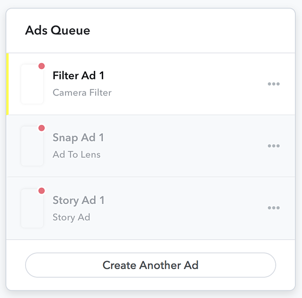 Snapchat ad campaign queue