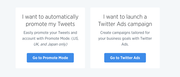 Twitter ads page