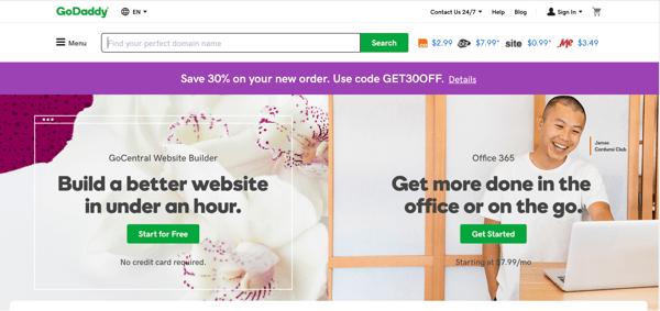 GoDaddy website host