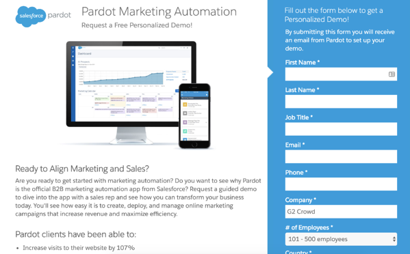 lead generation site example