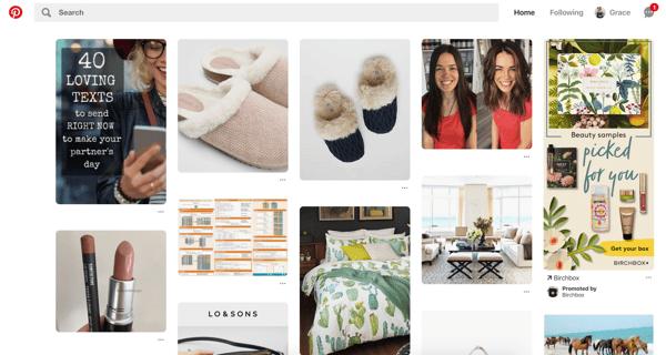 Pinterest homepage