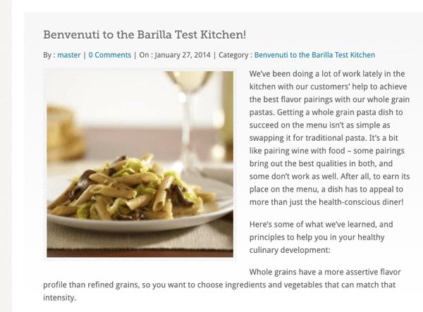 Barilla pasta test kitchen