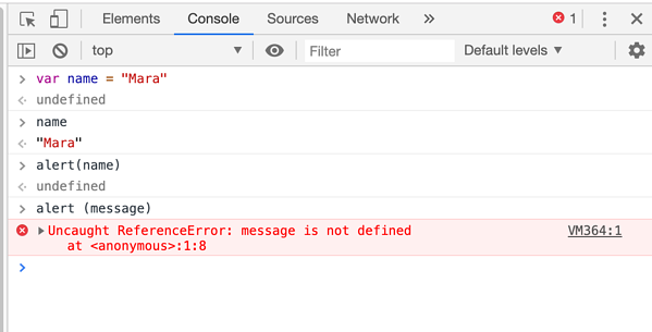 JavaScript Error Message