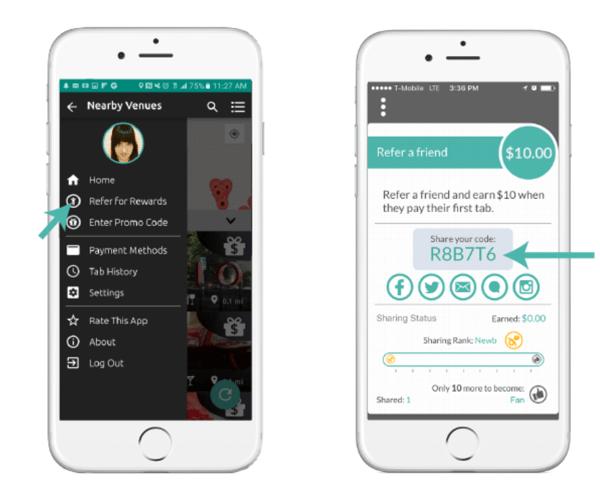 TabbedOut mobile referral program