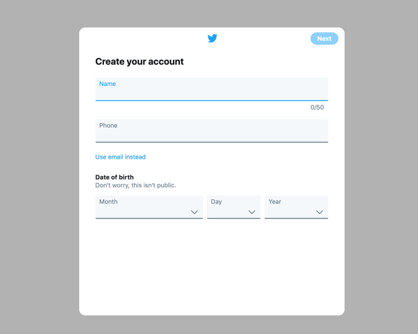 create a twitter account