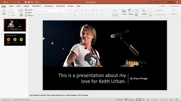 powerpoint presentation with notes