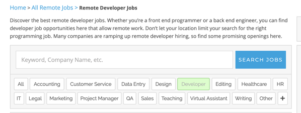 remote web developer job on remote.co