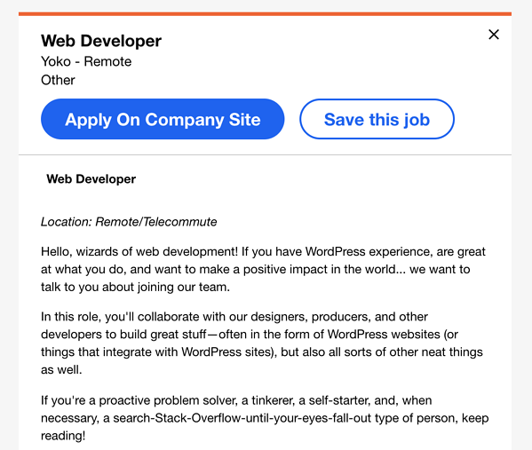 remote web developer job on indeed