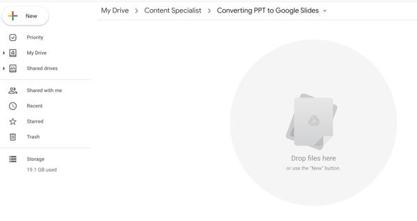 open Google Drive to powerpoint folder