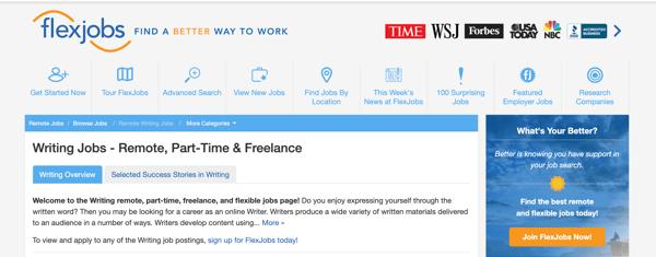 online writing jobs FlexJobs