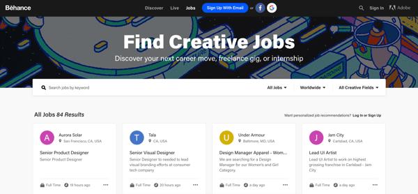 online writing jobs behance