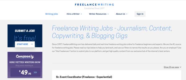 online writing jobs freelancewriting.com