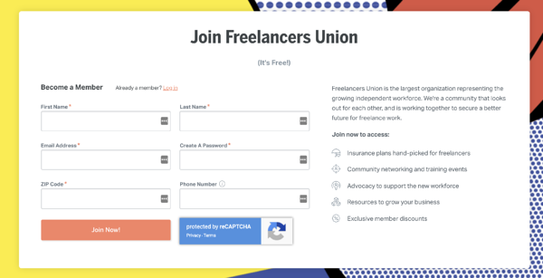 freelancers union registration